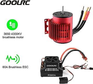 GoolRC 3650 4300KV Brushless Motor with Heat Sink 60A Brushless ESC 6V/3A BEC Combo for 1/10 RC Car Crawler Truck
