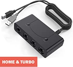 Defway Switch Gamecube Controller Adapter, Wii U Gamecube Adapter Super Smash Bros Ultimate, GC Controller Adapter for PC, with 4 Player Ports, Turbo and Home Button, No Lag No Driver Needed