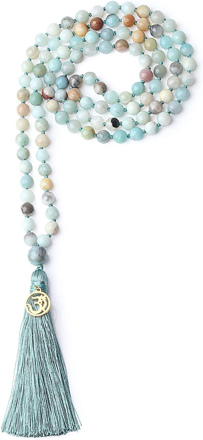 COAI Cash special price OM Charm Hand Knotted Max 79% OFF Mala 108 Necklace Tassel Beads