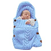 XMWEALTHY Newborn Baby Wrap Swaddle Blanket Knit Sleeping Bag Receiving Blankets Stroller Wrap for Baby(Light Blue) (0-6 Month)