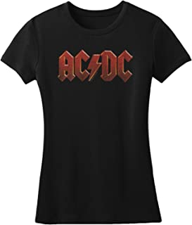 AC/DC Hard Rock Band Music Group Red Distressed Logo Womens T-Shirt Tee