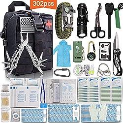 Monoki First Aid Survival Kit, 302Pcs Tactical Molle EMT IFAK...