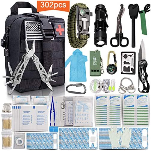 Monoki First Aid Survival Kit, 302Pcs Tactical Molle EMT IFAK Pouch Outdoor Gear EDC Emergency Survival Kits First Aid Kit Trauma Bag for Hiking Camping Hunting Car Travel or Adventures 3