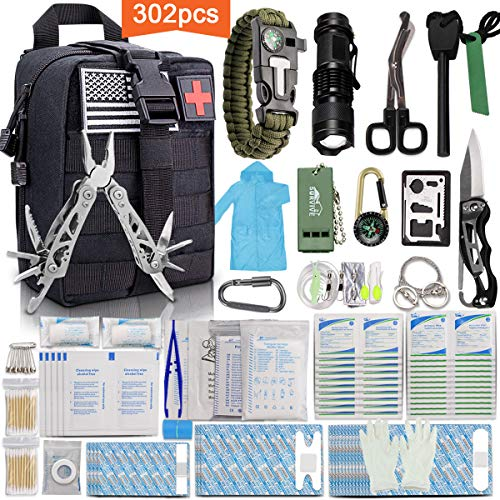 Monoki First Aid Survival Kit, 302Pcs Tactical Molle EMT IFAK Pouch Outdoor...