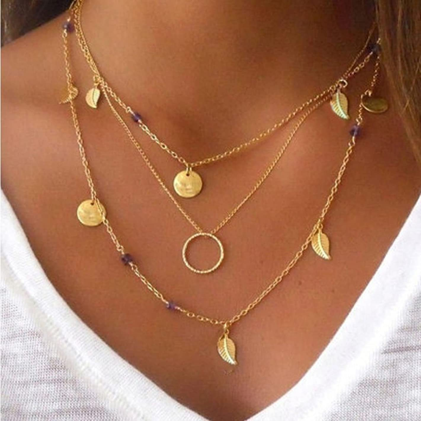 CanB Boho Layered Pendant Necklaces Leaf Hoop Sequins Beads Chain Jewelry for Women
