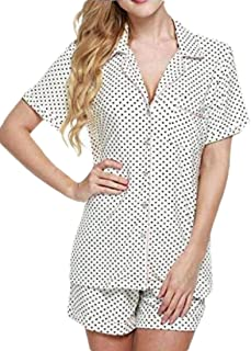 Women Satin Sleepwear Short Sleeve Pajama Set Button Down Nightwear