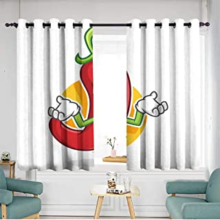 Sillgt Doorway Curtains Feeling Sorry Chili Pepper Mascot Chili Pepper Character Chili Pepper Cartoon Blackout Draperies for Bedroom W 63