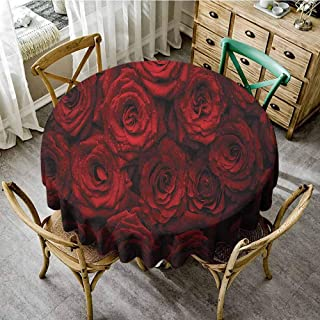 Circular Table Cover Dark Red Image of Red Roses with Drops of Water Blooming Bouquet Symbol of Love and Passion Red Black Outdoors Round Tablecloth Diameter 70