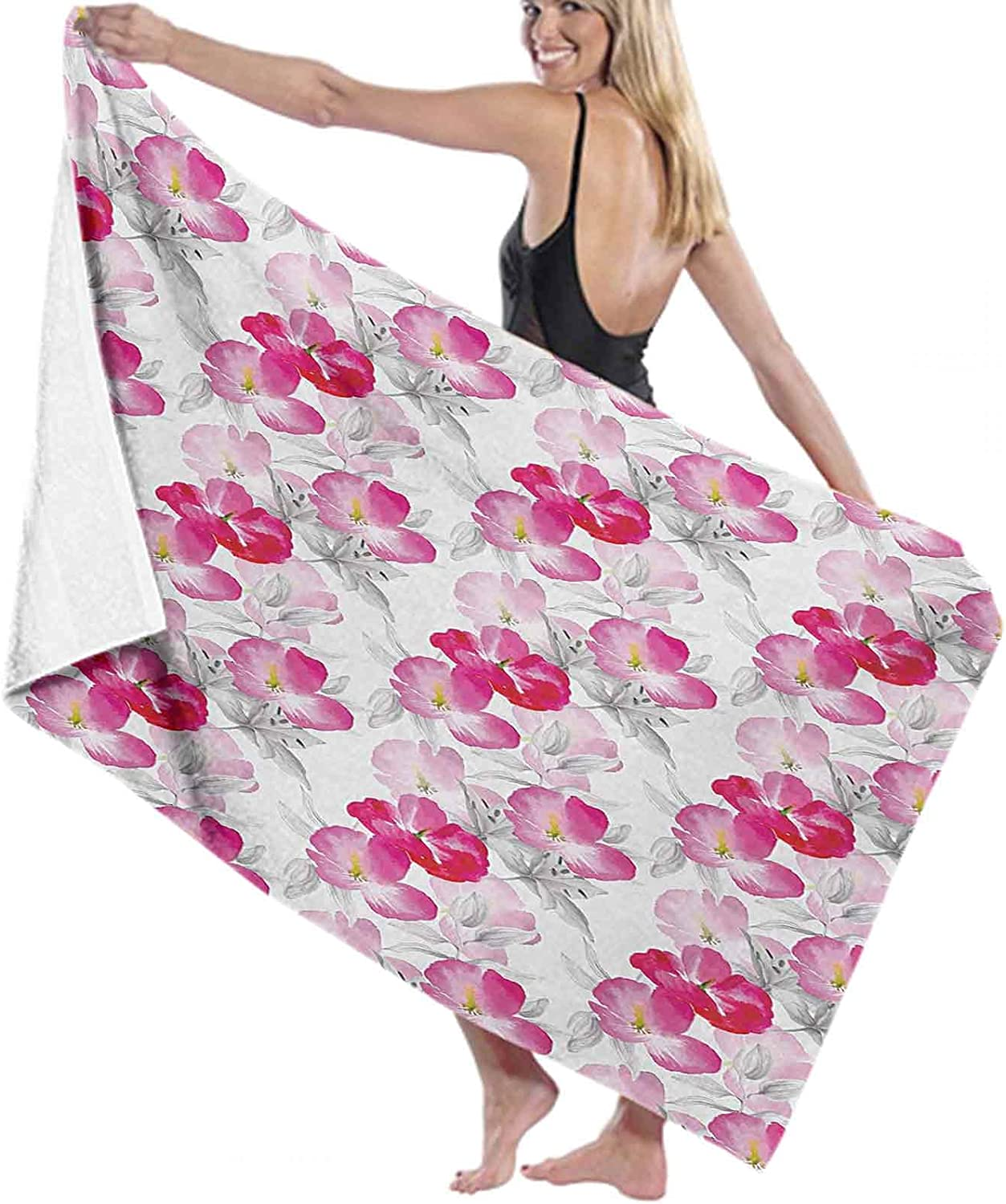 Floral Towels for Bathroom Lightweight Watercolor P Special price a limited time Quick-Dring 1 year warranty