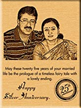 Incredible Gifts India 25th Silver Wedding Anniversary Gift -Photo on Wood (9x7-inch)
