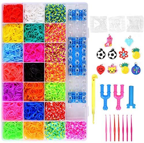 Volance DIY Pulseras Gomas, Gomas Para Pulseras de Colores 22 Colores + Muchos Pequeños Accesorios, los Mejores Regalos 4400