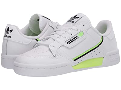 adidas Originals Kids Continental 80 (Big Kid) (White/Signal Green/Black) Kid