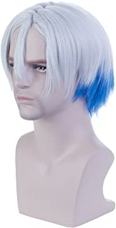 Angelaicos Unisex Two Tone Curly Party Cosplay Costume Full Wig Short Gray Blue