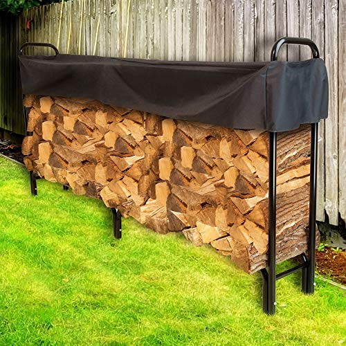 Cheapest Price! OKSLO 8' firewood log rack with cover Model (16837-22734-16364-18369)