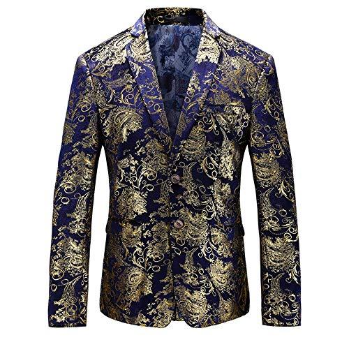 HX fashion Herrensakko Klassischer Sakko Partei Drucken Samt Hochzeitsanzug Partei Slim Bequeme Größen Fit Anzugjacken Smoking Blazer Abschlussball Kleidung (Color : Blau, Size : M)