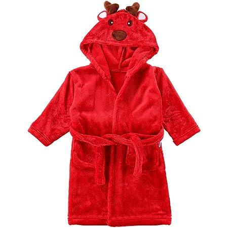 Niños Albornoz Camisón Toalla de Baño Navidad Pijamas Franela Reno Bata de Baño