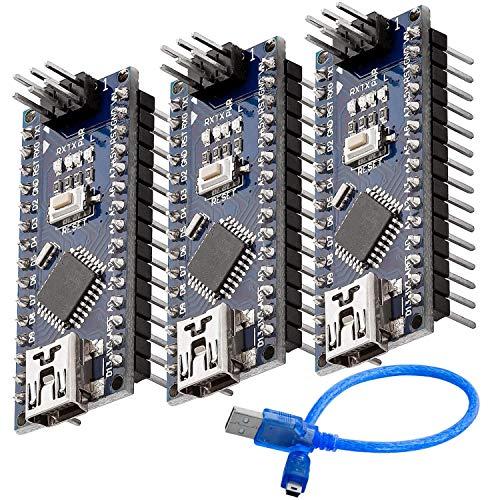AZDelivery 3 x Scheda Nano V3.0 con CH340 Atmega328 Chip versione saldata con Cavo USB, compatibile Con Nano V3 con eBook