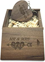 LXSINO Wood USB Flash Drive with Laser Engraved Mr & Mrs Design – 32GB Wooden Heart Shape USB Flash Drive USB Memory Stick Thumb Drivers with Matching Box for Novelty Gift(Walnut 32g)