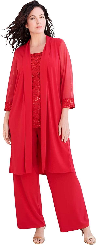 Roamans Women's Plus Size Three-Piece Lace & Sequin Duster Pant Set Formal Evening