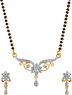 Gold and White Tones Indian Bollywood Floral Czs Studded Black Beads mangalsutra Necklace Set Jewelry