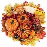 FUTUREPLUSX Artificial Pumpkins, 19PCS Harvest Fruits with 30PCS Artificial...