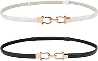 Leather Skinny Women Belt Thin Waist Belts for Dresses up to 37 Inches with Golden Buckle 2 Pack
