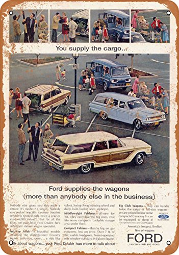 Wall-Color 7 x 10 Metal Sign - 1963 Ford Station Wagons - Vintage Look