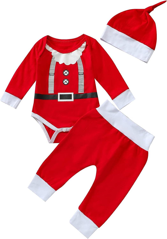 Newborn Baby Girls Boys Christmas Outfits Santa Clause Elf Romper Stripe Long Pants Hat 3Pcs Clothes Set