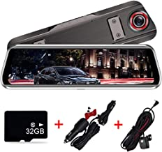 Backup Camera 9.66 inch Mirror Dash Cam, 1080P Dual Stream Media Full Touch Screen Car Camera Front and Rear Reversing Image G-Sensor Night Vision Waterproof Parking Monitor with 32GB Card