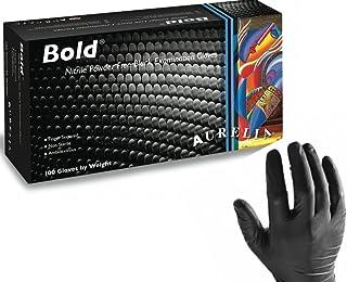 100 x Aurelia Bold Black Nitrile Powder Free Gloves Size
