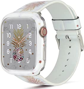 HIDAHE Compatible for Apple Watch Band 42mm 44mm with Case, Pineapple Pattern Adjustable Strap without Screen Protector Bumper Case Cover for iWatch SE Series 6/5/4/3/2/1, White