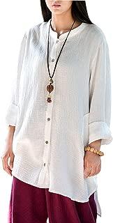 Women's Loose Fit Button Down Linen Cotton Cardigan Shirts Coat