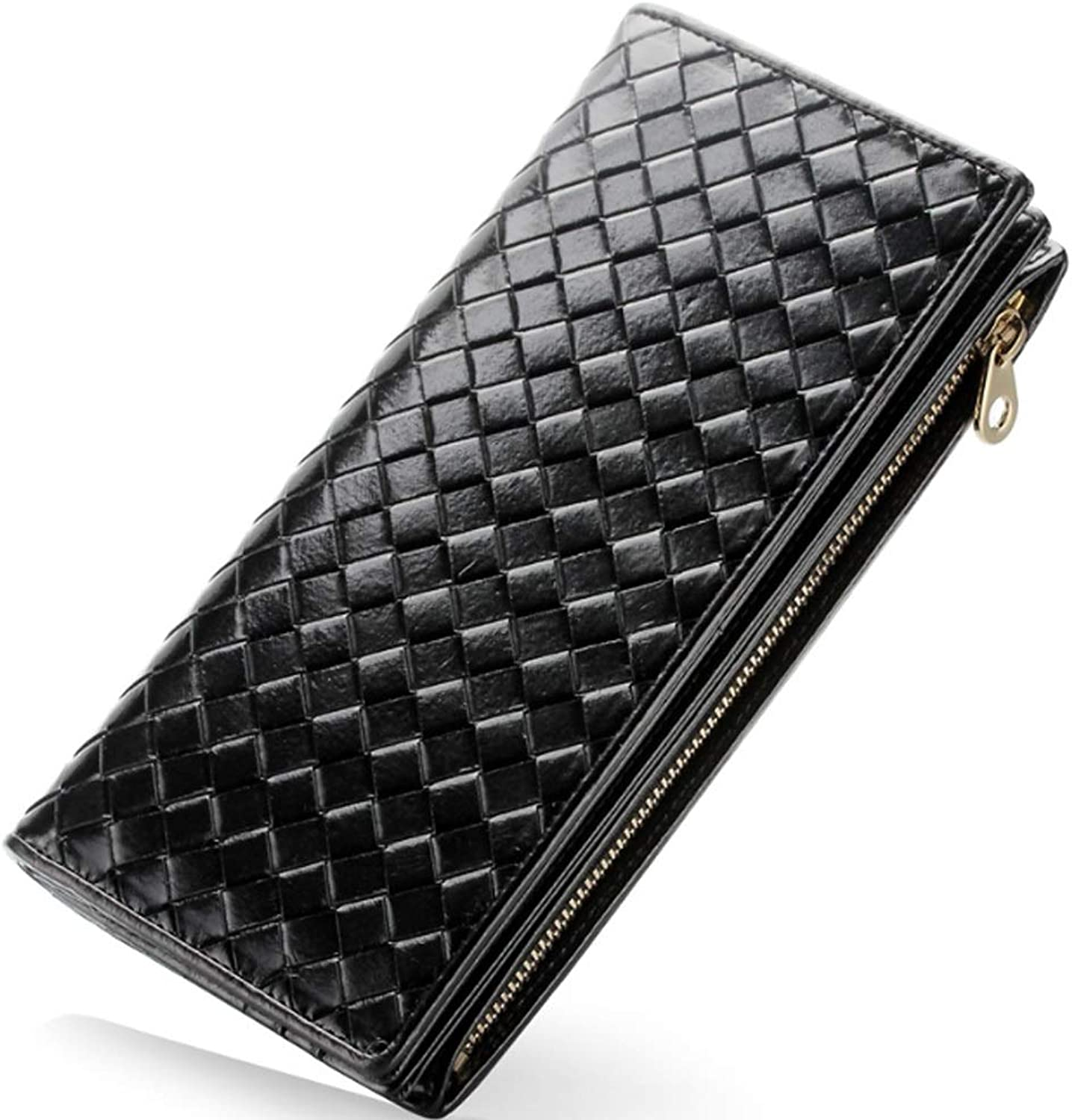 Diebell Women's Wallet HandKnitted Leather MultiFunctional Long Female Bag (color   Black, Size   S)