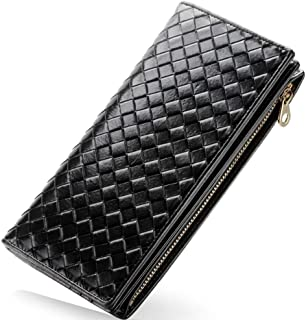 Leather Women's Wallet Hand-Knitted Leather Multi-Functional Long Women's Wallet Waterproof (Color : Black, Size : S)