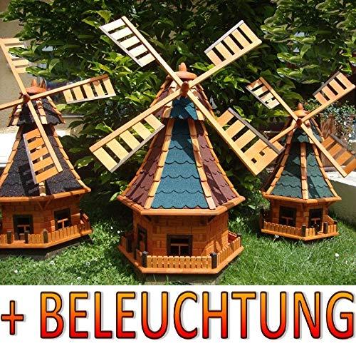 XL,windmühle,windmühlen garten, imprägniert + kugelgelagert 1 m groß rot blau rotblau rot-blaugrau rot-grau edelgrau edel, mit SOLARBELEUCHTUNG