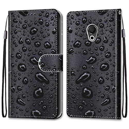 Ougger Hülle für Meizu 15 Lite, M15 Handyhüllen Flip Hülle Cover Stylish mit Standfunktion & Magnetisch PU Tasche Schutzhülle passt für Meizu 15 Lite, M15 (Regentropfen)