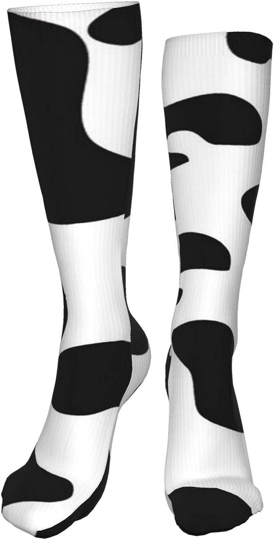 Cow Print Women Premium High Socks, Stocking High Leg Warmer Sockings Crew Sock For Daily And Work