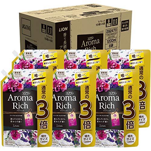 スマートマットライト 【ケース販売 大容量】ソフラン アロマリッチ 柔軟剤 ジュリエット(スイートフローラルアロマの香り) 詰め替え 特大1200ml×6個
