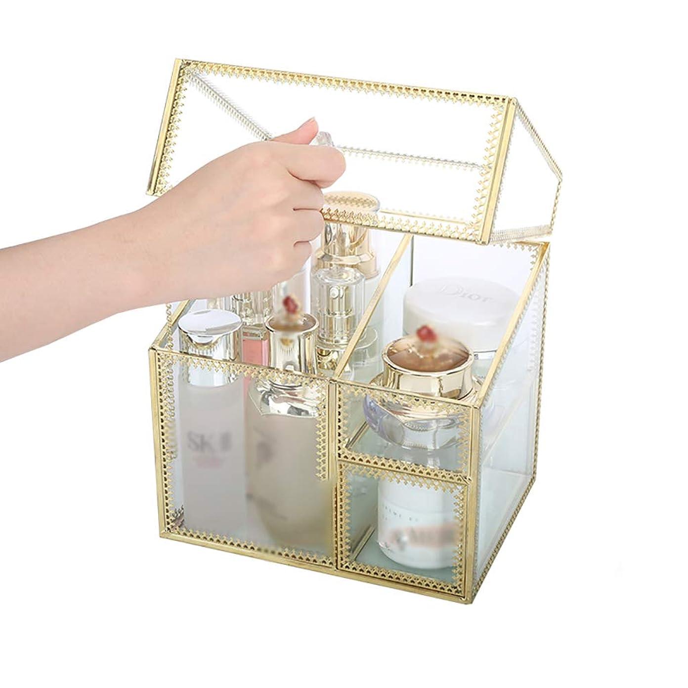 インレイ記述するガラスガラス 化粧品収納ボックス 職人技 防塵 フリップカバー スキンケア デスクトップ 仕上げボックス 非アクリル ジュエリースタンド 小型ワンピース防塵収納