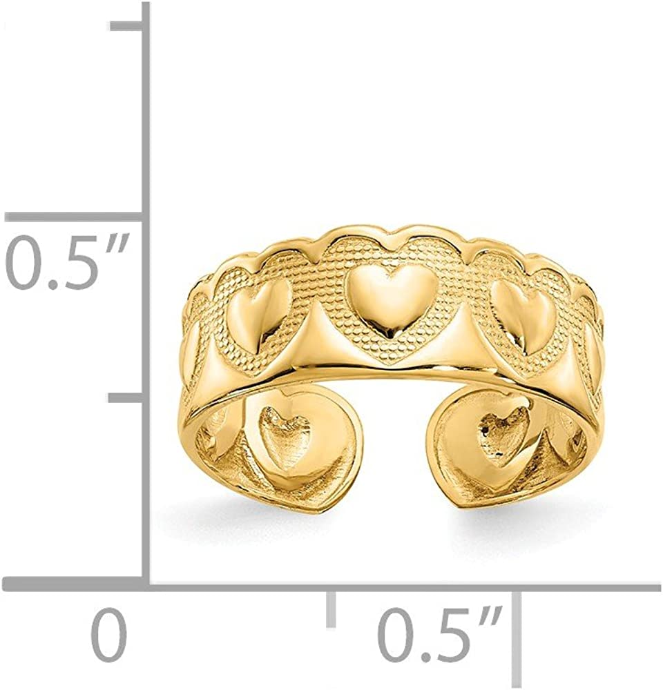 14K Yellow Gold Wide Textured Heart Toe Ring