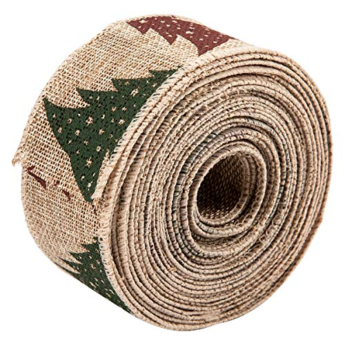 PAMASE 10.9 Yards Long Christmas Vintage Wired Burlap Ribbon- Red Green Brown Christmas Tree Wired Edge Burlap Ribbon for Wrapping Presents or Decorating Banister Tables Chairs (2 Inches Wide)