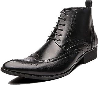 Feidaeu Bottes Chelsea pour Hommes Chaussures Richelieu rétro à Lacets en Cuir Bout Pointu Chaussures habillées pour Homme...