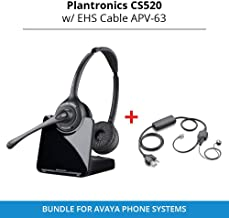 Plantronics CS520 Binaural Wireless Headset System with EHS Cable APV-63, Bundle for Avaya Phone Systems