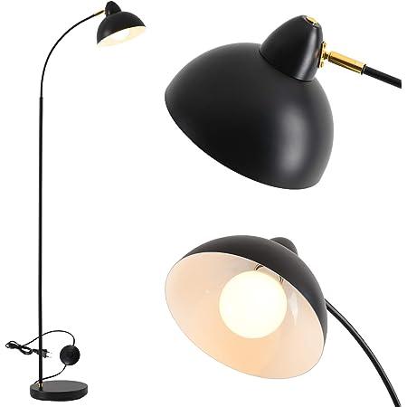 HOXIYA Lampadaire noir, lampadaire moderne, lampe de lecture sur pied, lampadaire sur pied, abat-jour, salon, lampadaires à LED pour la maison