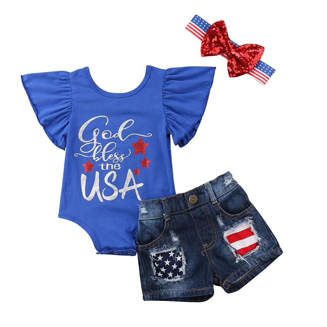 4th of July Romper Newborn Baby Girl Outfits USA Flag Sunsuit Jeans Headband Set