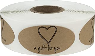 InStockLabels A Gift for You Heart Labels 1 x 2 Inch 500 Adhesive Stickers, Natural Kraft Paper