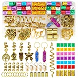 125 Pcs Dreadlocks Loc Hair Jewelry for Women Braids Hair, Crystal Gemstone Pendant Hair Accessories, Gold and Colorful Hair Rings for Braids, Cute Hair Pendants Butterfly Rose Shell and Snake