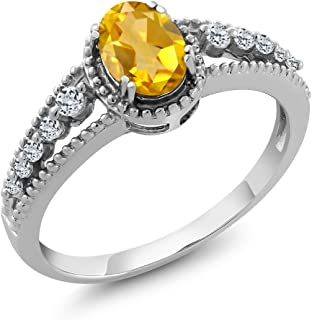 925 Sterling Silver Yellow Citrine and White Topaz Women's Ring 0.81 Ctw Oval (Available 5,6,7,8,9)