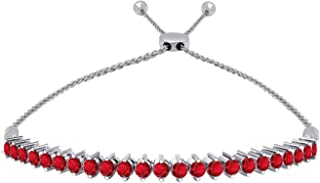 OMEGA JEWELLERY 14K White Gold Natural Red Ruby Tennis Style Adjustable Bolo Bracelet