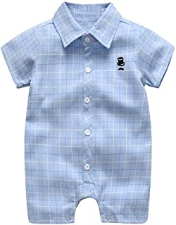 15d9dac95 Tronet Cute Onesies for Babies Uncle Infant Baby Boys Short Sleeve  Gentleman Plaid Print Romper Jumpsuit